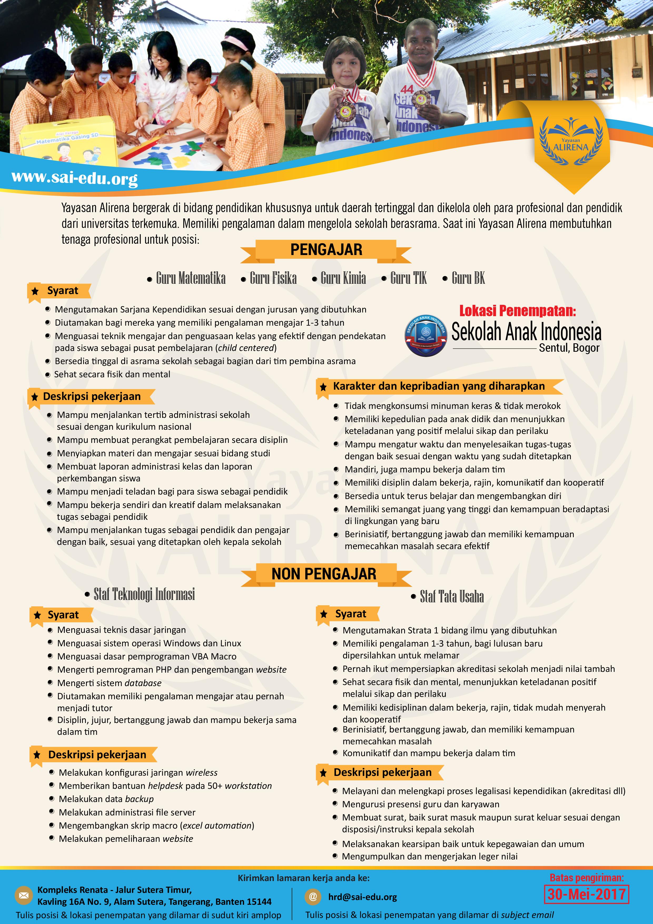 Info Lowongan Kerja Sekolah Anak Indonesia - Bogor