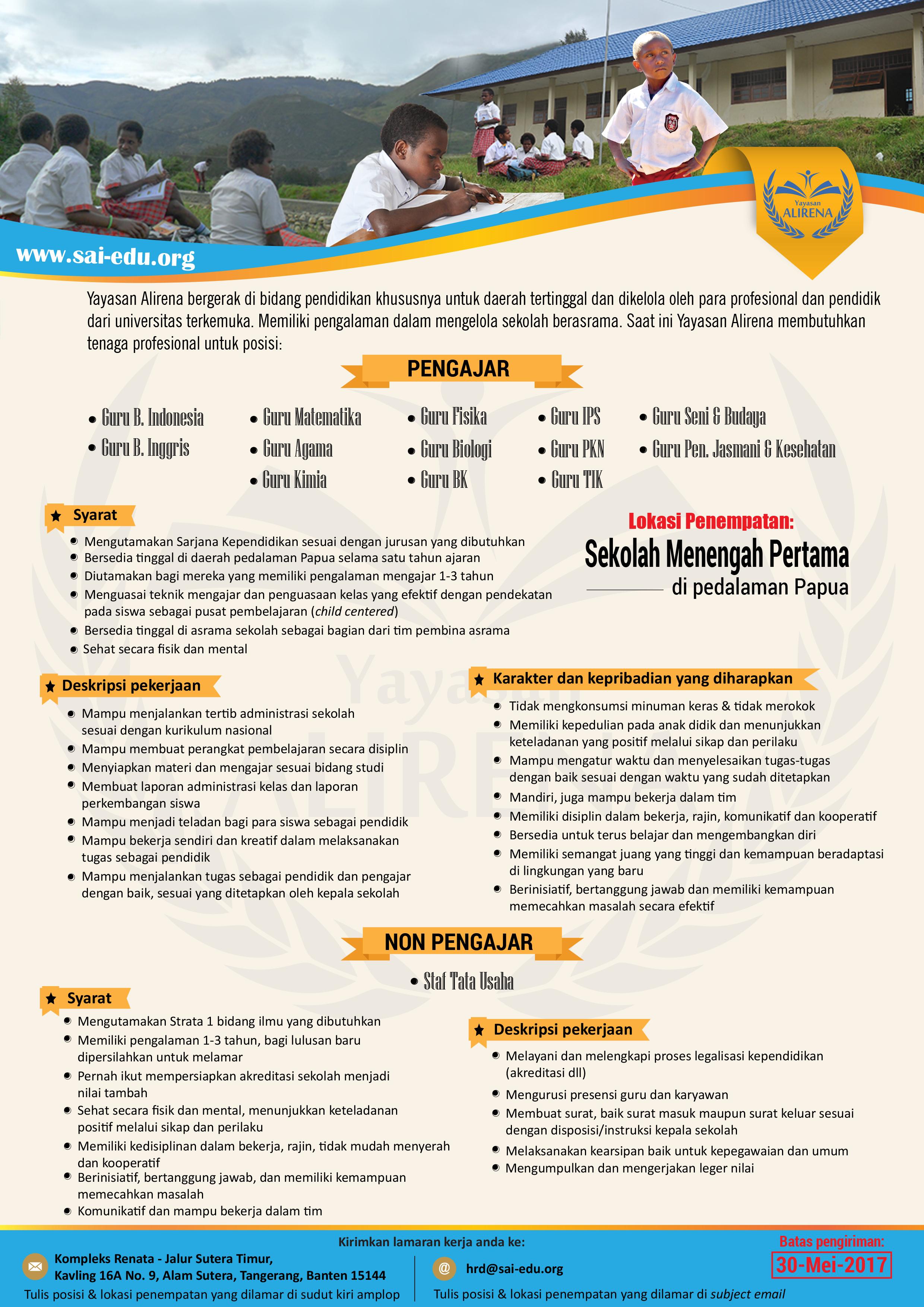 Info Lowongan Kerja Sekolah Unggulan - Papua